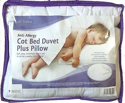 Anti-Allergy Cot Bed Duvet With Pillow ,For Baby Cot , 4.5, 7 & 9 Tog with 9 Tog