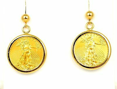 2013 1/10 oz $5 American Gold Eagle Coins in 14k Yellow Gold Earring Bezels 9.4g
