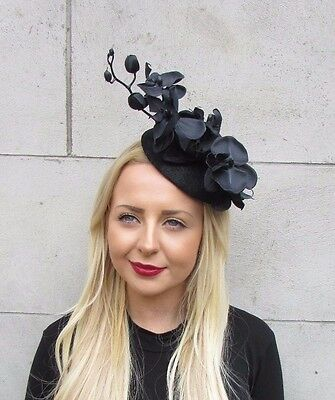 Black Orchid Flower Fascinator Hat Statement Headpiece Races Vintage Clip 2253