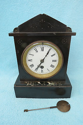 Small Antique Circa 1890 French Black Slate And Marble Clock For Tlc