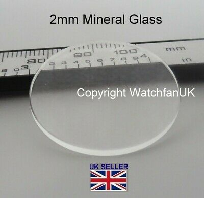 Watch Glass Mineral Crystal - Flat Round - 2.00 mm thick range 17.1 mm to 40mm