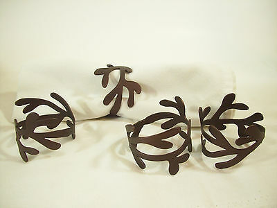 Set 4 COPPERY Brown Metal ABSTRACT NAPKIN RINGS Vintage Shimmery