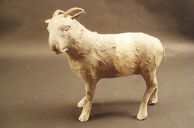 RARE ANTIQUE MINIATURE REAL FUR BILLY GOAT figurine JAPAN RATTLE 4""