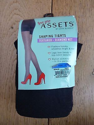 7df6f61072b Spanx Assets Black Textured Diamond Fishnet Tummy Bum Thighs Shaper Tights  Size4