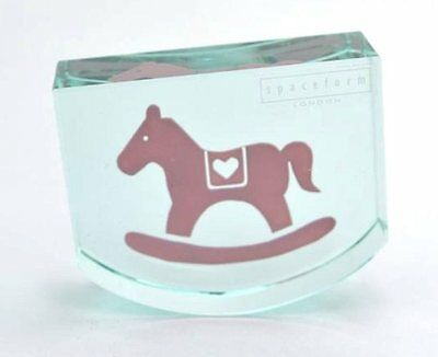 Spaceform Glass Pink Rocking Horse Keepsake Baby Shower Birth Christening Gift