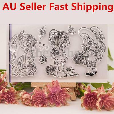 Girl Silicone Rubber Clear Stamp Cling Seal Scrapbooking Diary Card DIY Craft