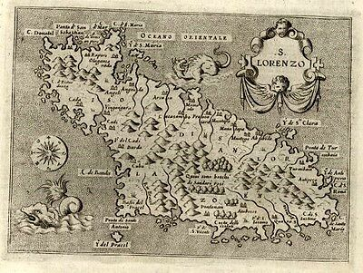 Madagascar sea monsters S. Lorenzo Porcacchi 1620 scarce antique map cartouche