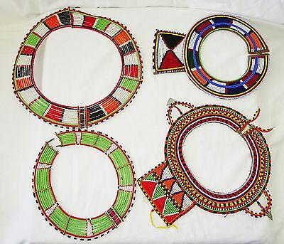 4x 20CT Kenyan Masai Tribe Colorful Trade Bead Necklaces (Eic)