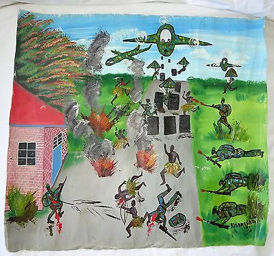 """1991 African Zaire Tribe Acrylic Painting """"War Scene"""" by H. Ndabagera (Eic)"""