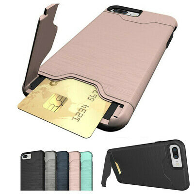 For iPhone XS Max X 8 7 Plus Slim Hybrid Card Pocket Shockproof Stand Case Cover