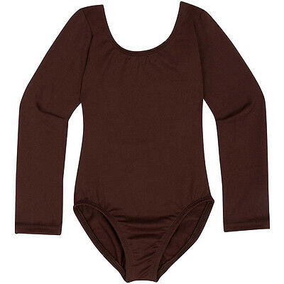 BROWN Toddler & Girls Long Sleeve Leotard