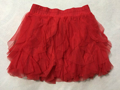 Old Navy Girls L 10 12 Red Tulle Waterfall Cascade Ruffle Skirt