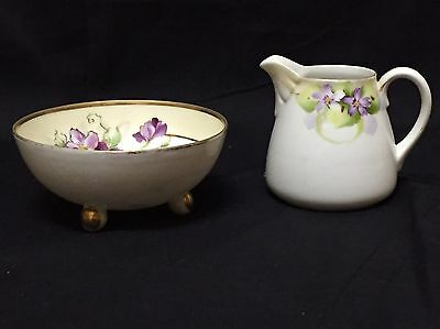 Nippon Creamer & Sugar Bowl Hand Painted Violets & Gold Trim Footed Open Sugar