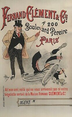 Original vintage french poster - FERNAND CLEMENT & CO - 1896 - bike cycle