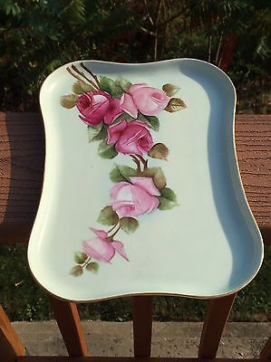 Hand Painted Porcelain Tray - Pink Roses - c 1890-1912 MZ Austria