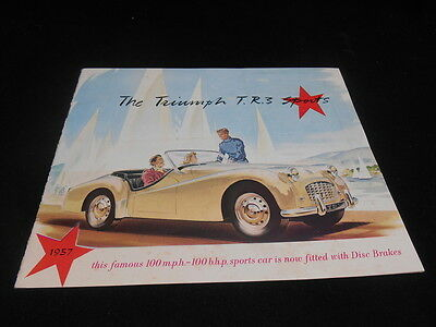 Scarce Vintage 1957 Triumph TR3 Sports Car Dealer Brochure Book