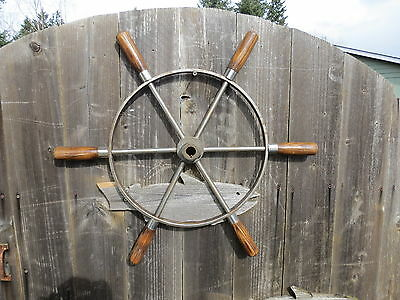 AUTHENTIC 24+5/8 inch STAINLESS STEEL & WOOD BOAT SHIPS WHEEL SAILBOAT (#2152)