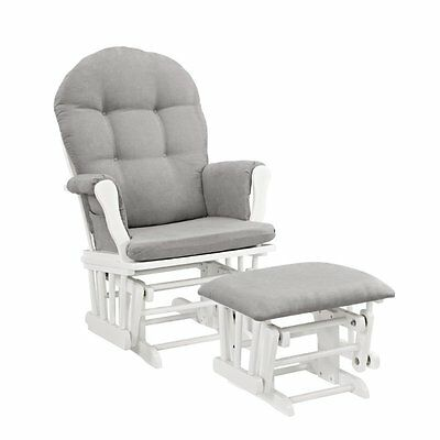 Glider Chair Baby Relax Ottoman Padded Arms White and Gray