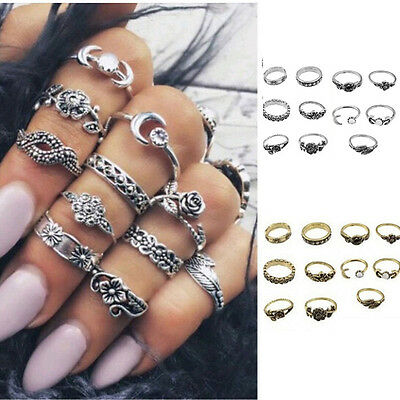 11pcs Set Silver Gold Boho Crystal Arrow Moon Midi Knuckle Finger Rings Jewelry