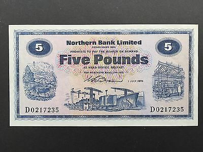 Northern Ireland 5 Pounds P188a Northern Bank First Date Issue 1st July 1970 UNC