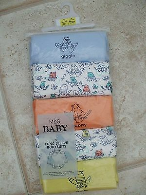 Bnwt 5 Pack Long Sleeved Bodysuits Integral Scratch Mitts Marks & Spencer 1 Mth