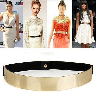 Women Elastic Metal Waist Belt Metallic Bling Gold Plate slim Simple Band  OE