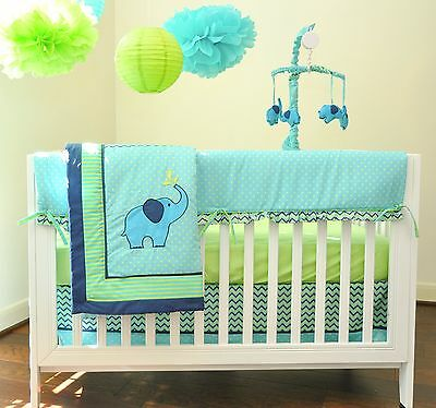 Pam Grace Creations Zigzag 10 Piece Baby Crib Bedding Set Teal/Lime