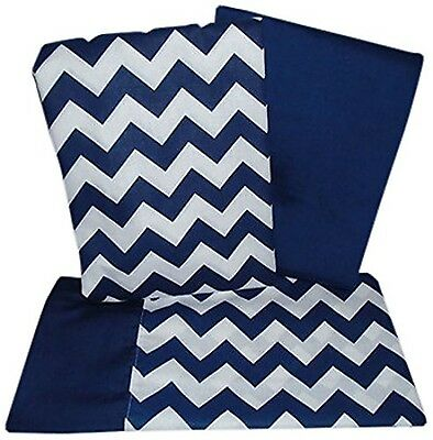 BabyDoll Baby Doll Chevron Crib and Toddler Sheet Set Navy