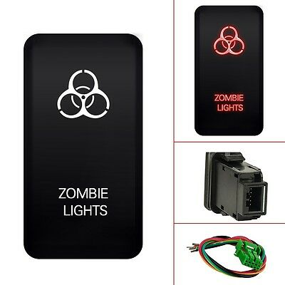 MICTUNING  NEW 12V Push Switch Red LED Zombie Light +Wire For Toyota - 40mm*20mm