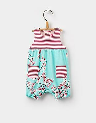 Joules 124252 Baby Girls Hotch Potch Romper in 100% Cotton in Turquoise Blossom