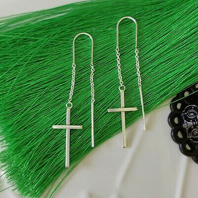 925 Sterling Silver Drop Cross Hook Chain Pull Through Threader Earrings in Box