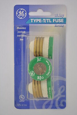 GE 3-Pack 30 Amp Type T/TL Screw In Time Delay Plug Fuses 125 Volt AC