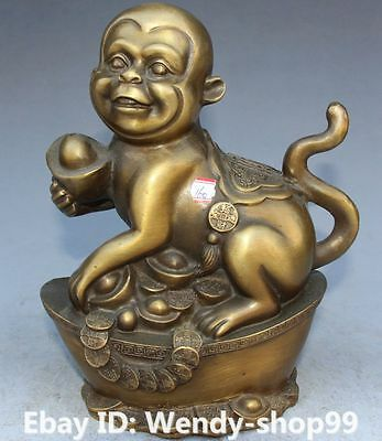 """8"""" Chinese Fengshui Bronze Carving Wealth Yuanbao Animal Monkey Monkeys Statue"""