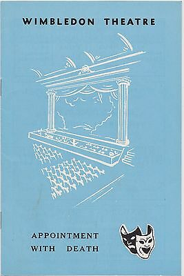 Wimbledon Theatre Programme for Appointment With Death by Agatha Christie 1965
