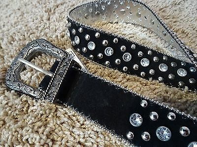 Womans Guess Black Silver Rhinestone Studded Western Cowgirl Style Belt Sz Small