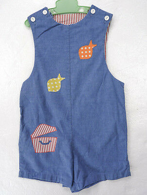 Vintage 70s 80s Novelty Kids Romper Fish & Treasure Chest Blue Shorts One Pc 4/5