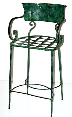 Vintage Enamel Wrought Iron Bar Stool with Cushion Early 20C [PL3149B]