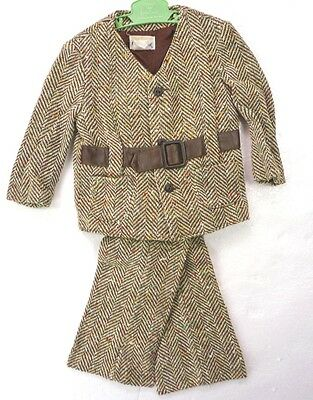 Vintage 70s Good Lad Brown Nubby Tweed Pants & Belted Jacket 2-Pc Set 3T