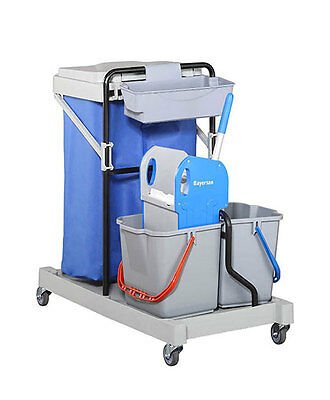 JANITORIAL/CLEANING TROLLEY With Large Waterproof Bag & Double Mop Bucket