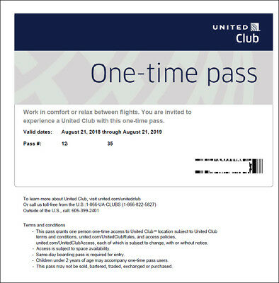 2 Passes for United Club One Time Pass EXP 9/20/2020 NOT CHASE E-pass available