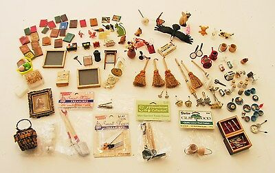 Large Lot 100+ Pieces Miniature Furniture Doll House ACCESSORIES New & Used