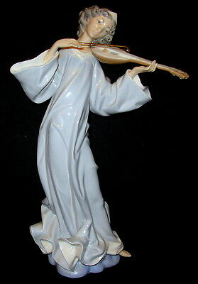 "Lladro Figurine #1324 ""Angel Acordes"" - Retired - Includes Rare Bow!!"