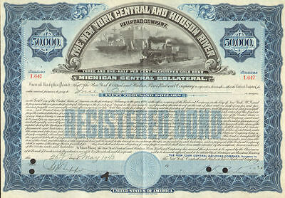 New York Central and Hudson River Railroad Company $50,000 bond certificate