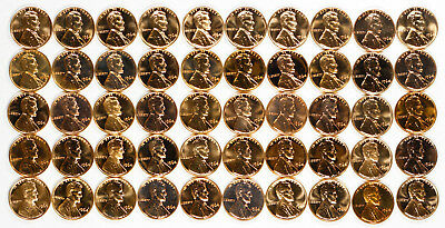 1964 Lincoln Memorial Cent Penny 1C Gem Proof Full Roll 50 Coins