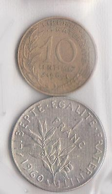 (H30-66) 1960-9 France 10c and 1F coins (D)