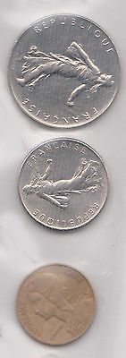 (H30-64) 1966-73 France 3coins 5c to 1F (B)