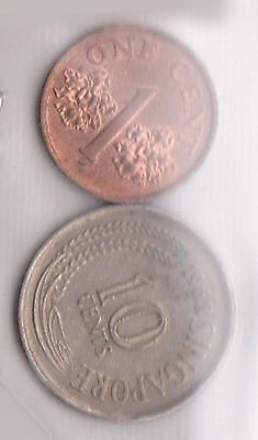 (H30-16) 1968-95 Singapore 1c and 10c coins (D)