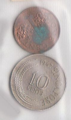 (H30-18) 1967-95 Singapore 1c and 10c coins (F)