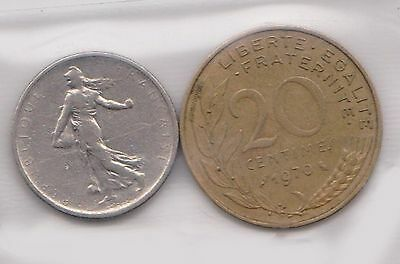 (H30-79) 1965-70 France 20c and ½F coins (Q)