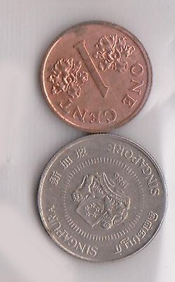 (H30-14) 1986-2001 Singapore 1c and 10c coins (B)